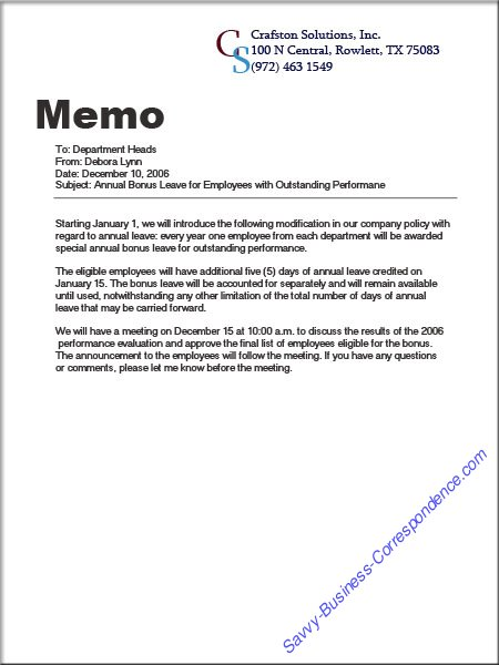 Are There Types Of Memos