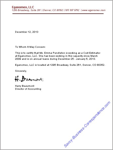 Business Letters Employment – Previous Employment Verification Letter