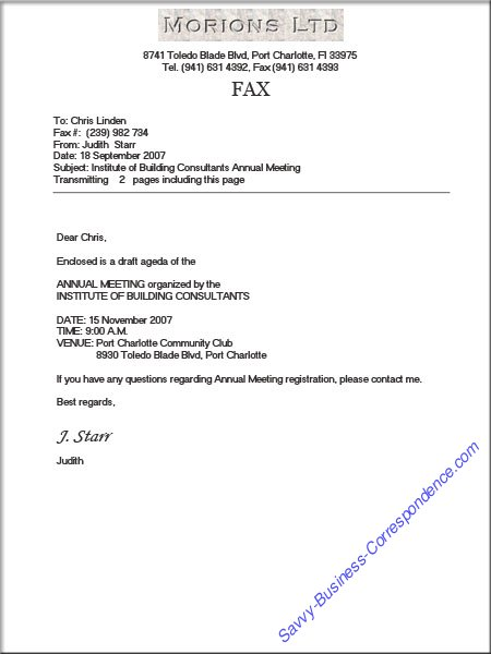 Business Letter Via Fax Fax Cover Sheet