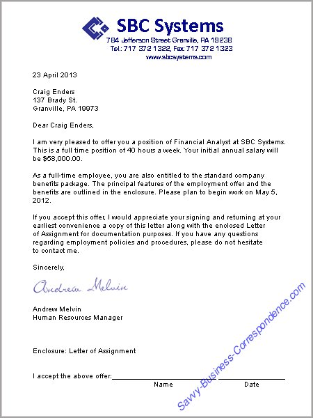Business letters employment job offer letter altavistaventures Images