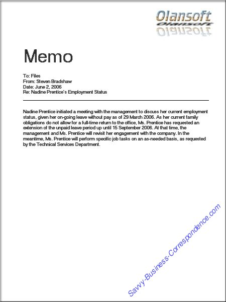 Sample Business Memo | Are There Types Of Memos