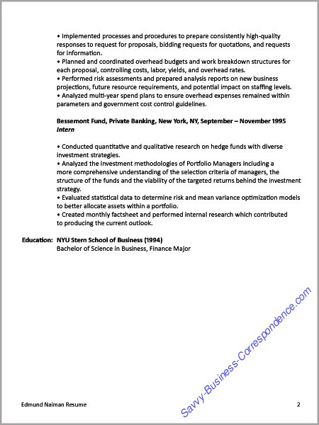 Resume, Financial Manager, Page 2  Job Search Resume