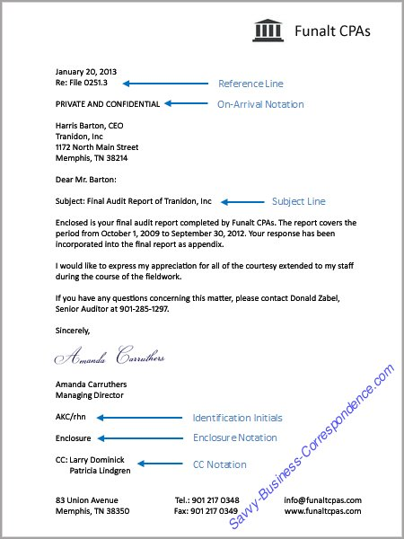 Business Letter with special mailing notations